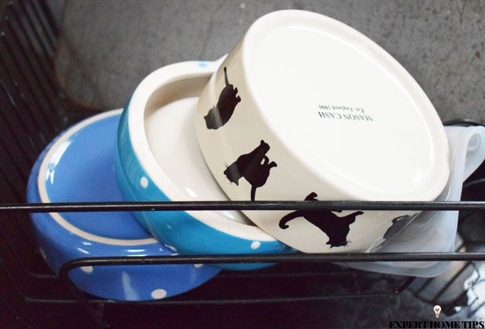 pet bowls draining board