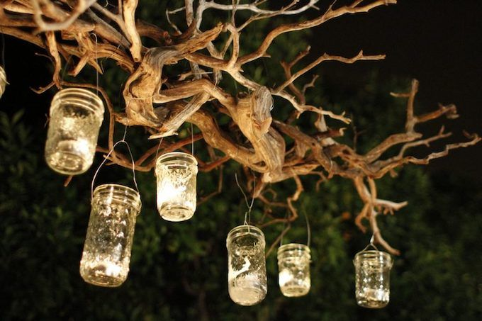 hanging mason jars candles
