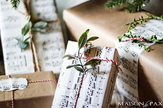 Sheet music gift wrap