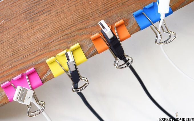 organise cables with bulldog clips