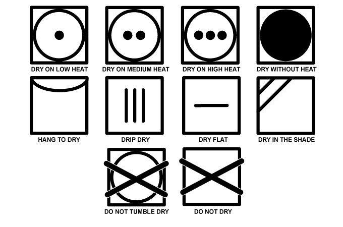 tu,ble dry symbols