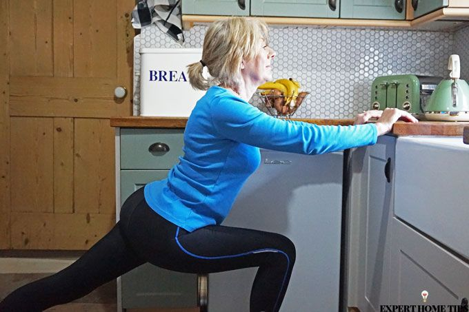 lunge in kitchen