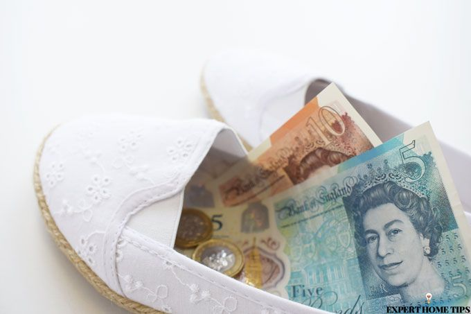 money in shoes