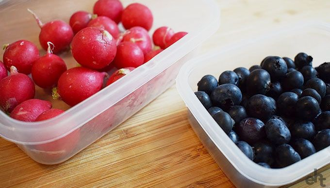 radishes and blueberries