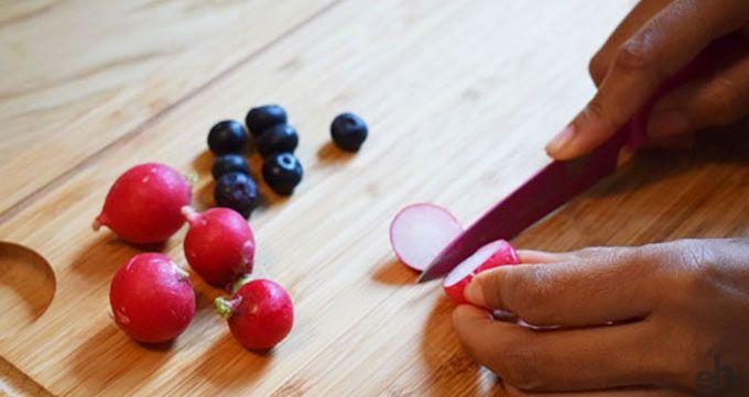 preparing radishes