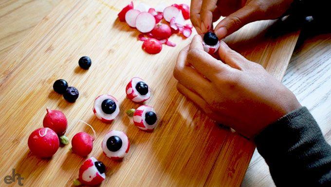 blueberries inside radish