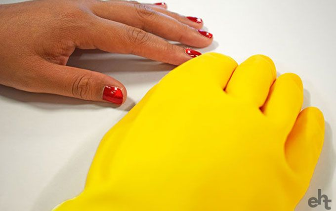 manicured hands and rubber gloves