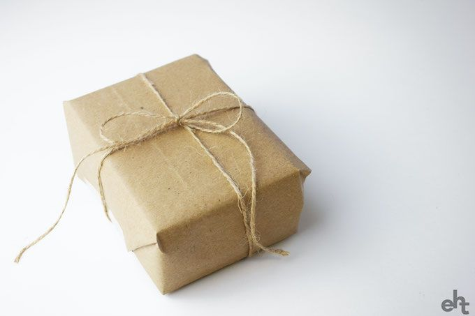 brown paper and string gift