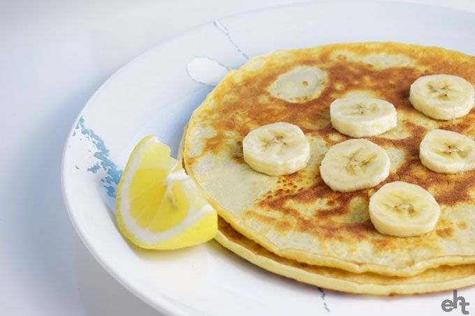 pancakes with a lemon wedge