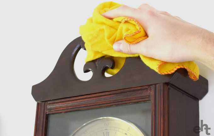 dusting a clock