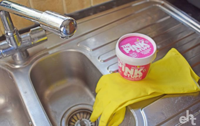 cleaning sink with the pink stuff
