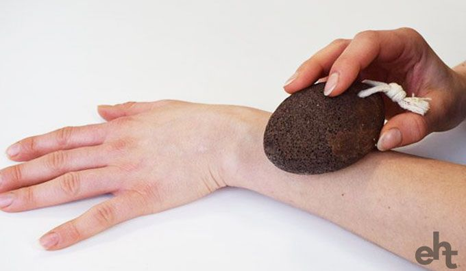 Natural hair removal using a pumice stone